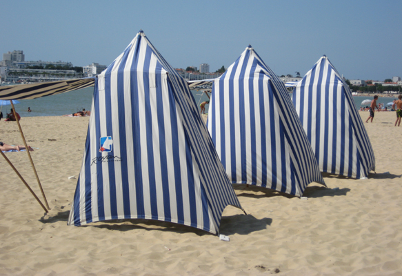 Traditional beach tents on the main beach at Royan